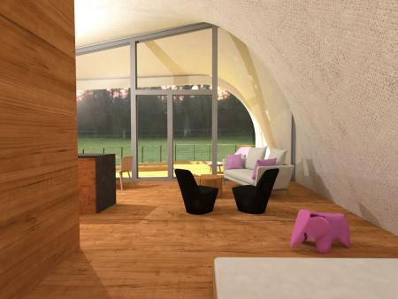 This image shows what the interior of the solar house will look like.