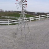8-Ft-Made-in-the-USA-Premium-Aluminum-Decorative-Garden-Windmill-red-Trim-0